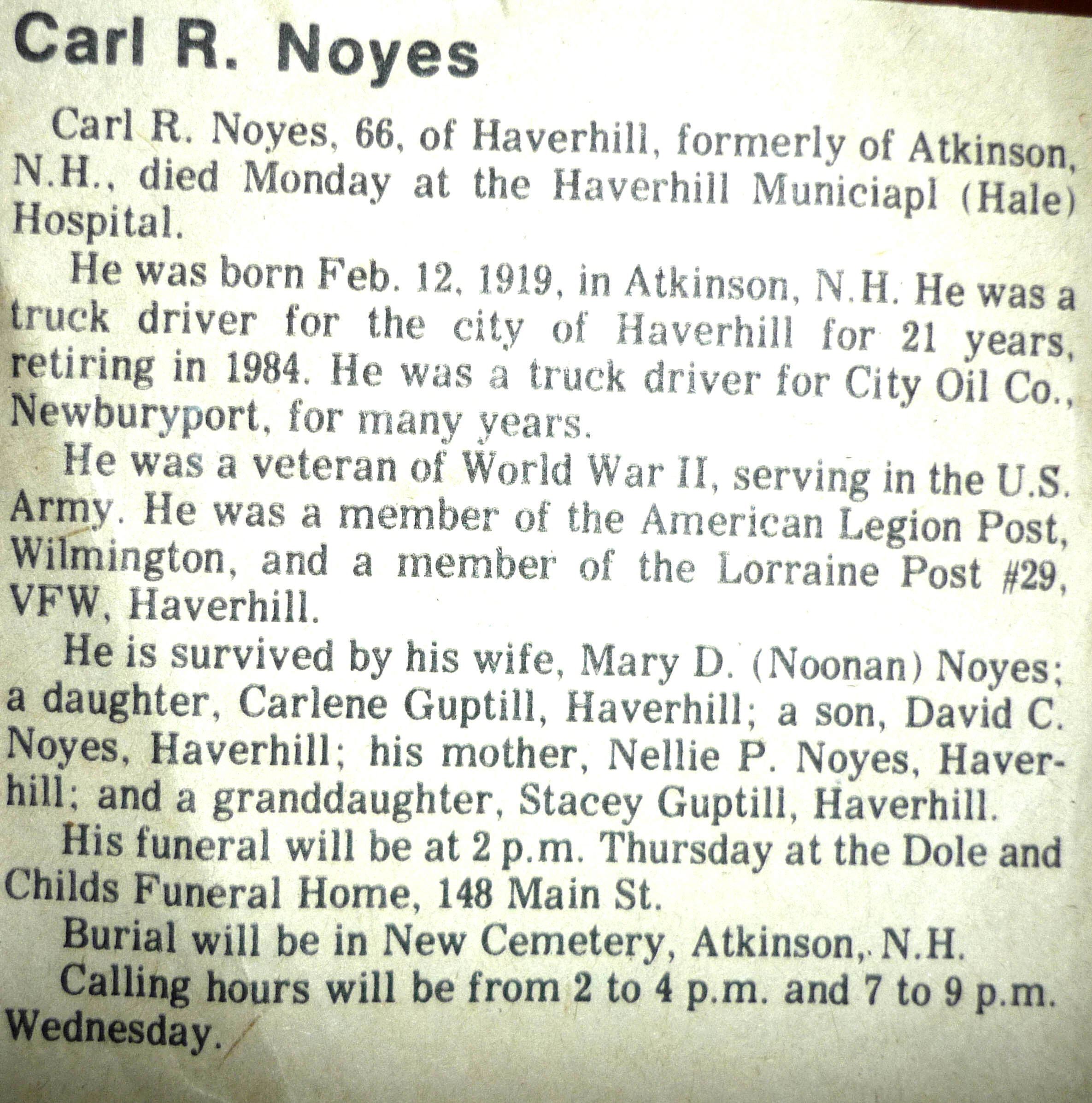Carl R. Noyes obituary